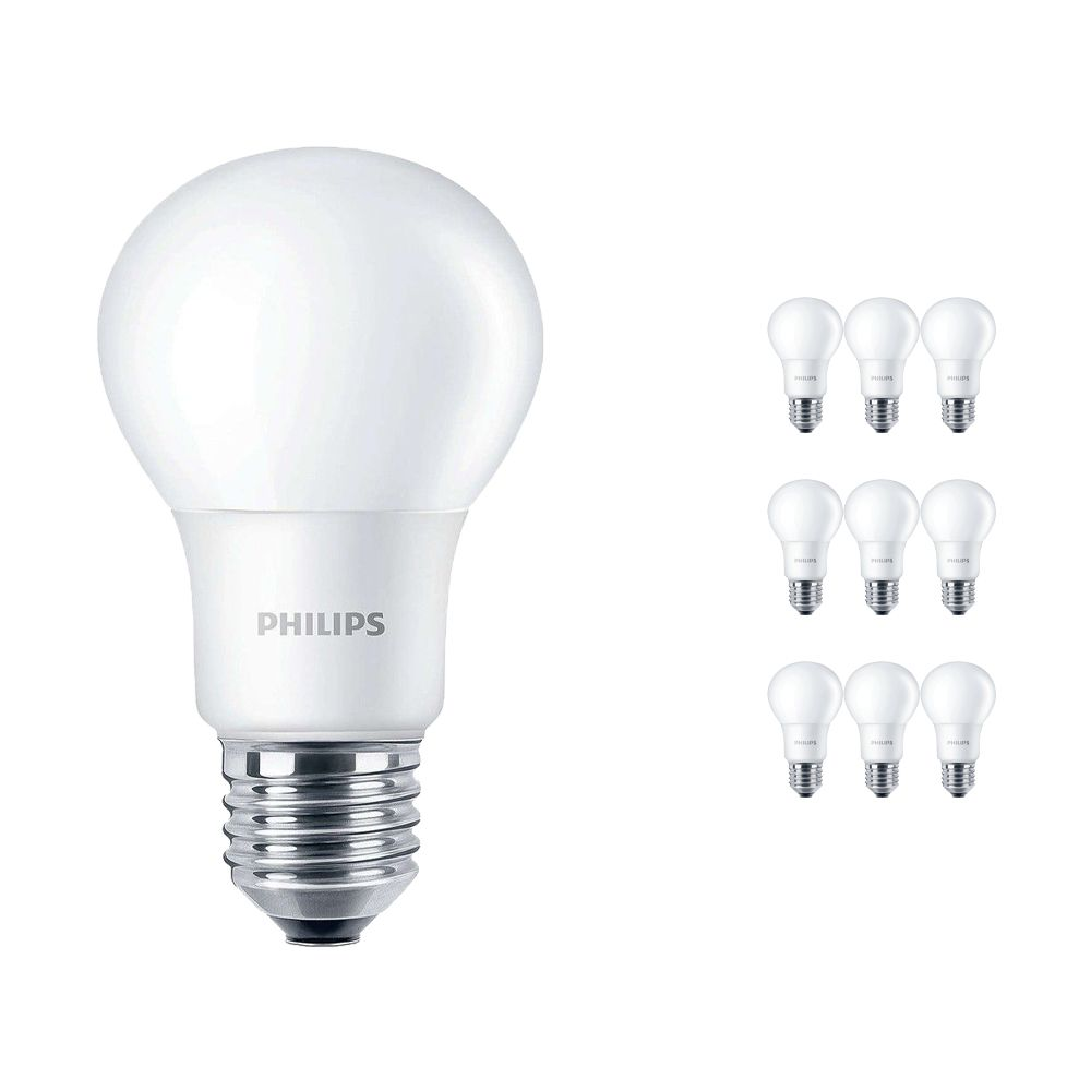 Multipack 10x Philips CorePro LEDbulb E27 A60 5W 840 A60 Matt | Replacer for 40W