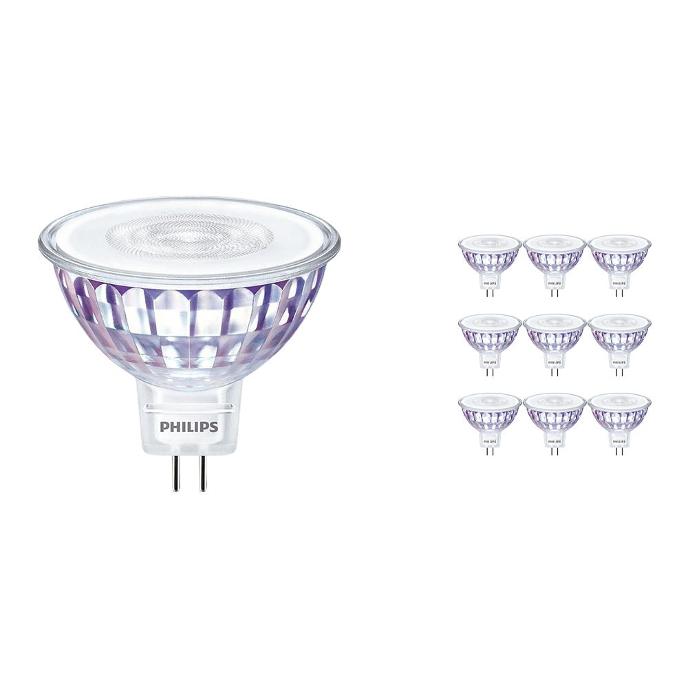 Multipack 10x Philips CorePro LEDspot LV GU5.3 MR16 7W 840 36D | Replacer for 50W
