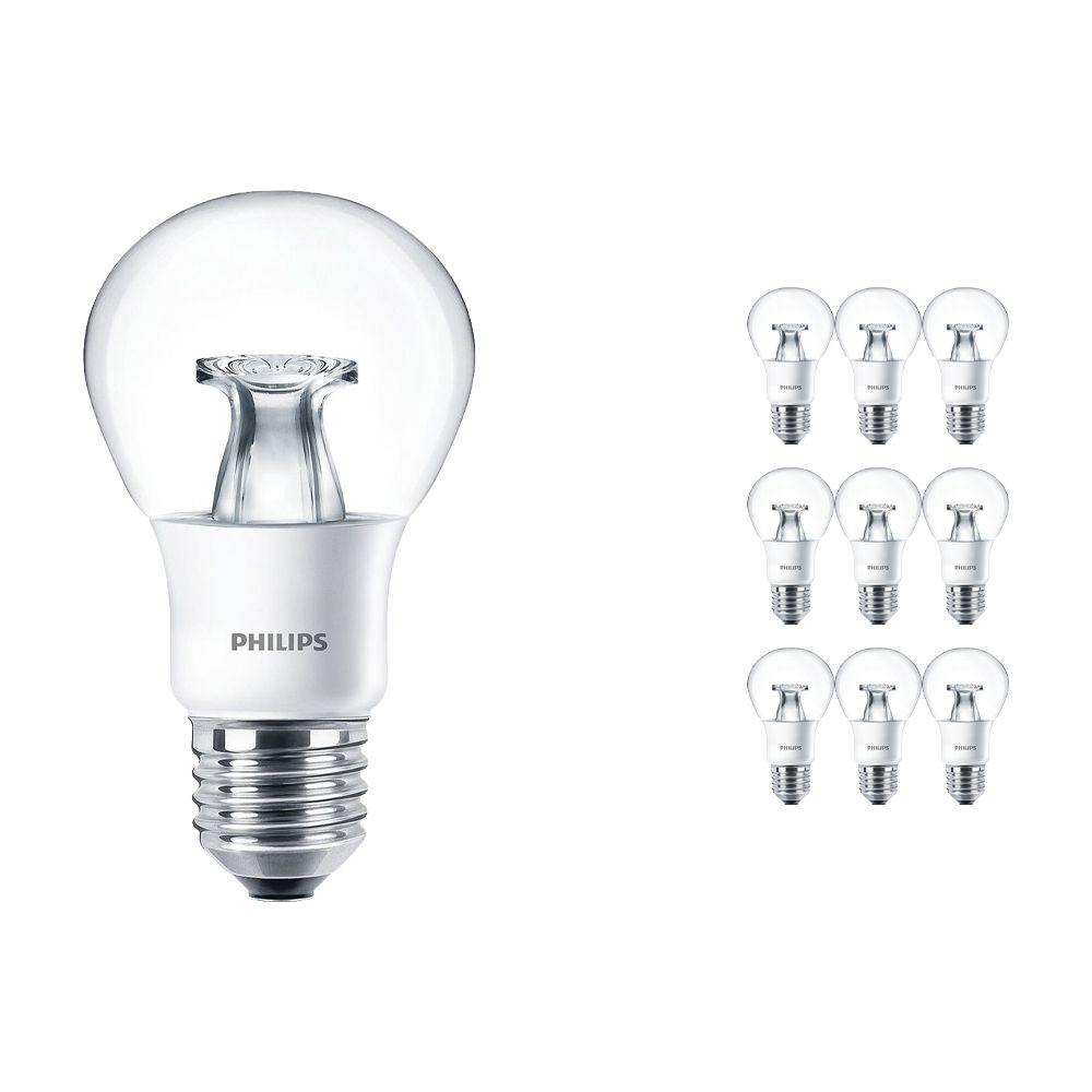 Multipack 10x Philips LEDbulb E27 A60 6W 827 Clear (MASTER) | DimTone Dimmable - Replaces 40W
