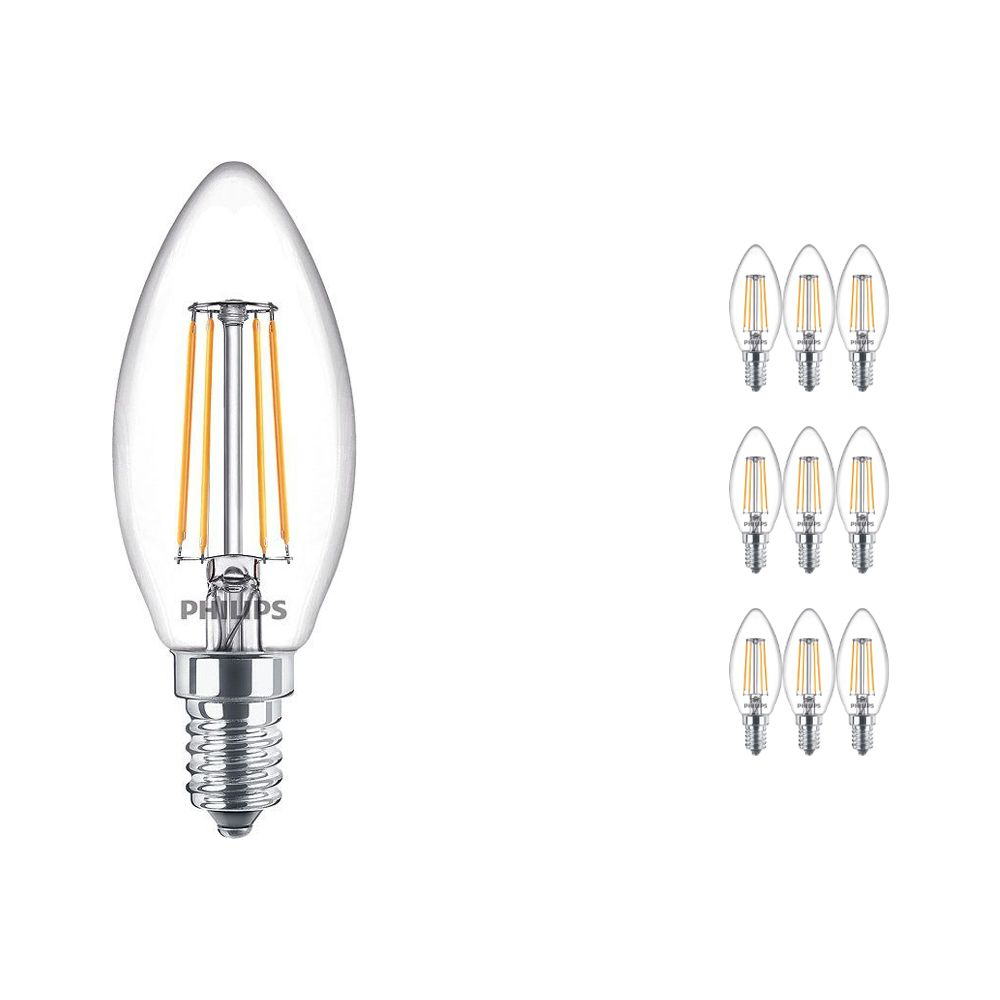Multipack 10x Philips Classic LEDcandle E14 B35 4.3W 827 Clear | Replacer for 40W