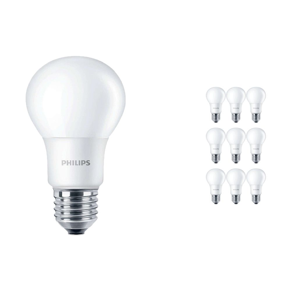 Multipack 10x Philips CorePro LEDbulb E27 A60 7.5W 840 A60 Matt | Replacer for 60W