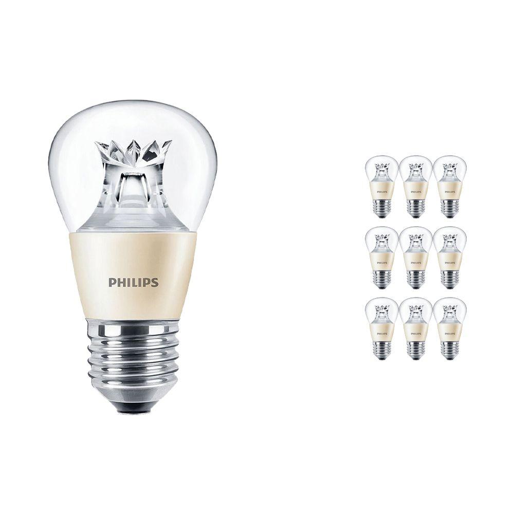 Mehrfachpackung 10x Philips LEDluster E27 P48 4W 827 Klar (MASTER) | DimTone Dimmbar - Ersatz für 25W
