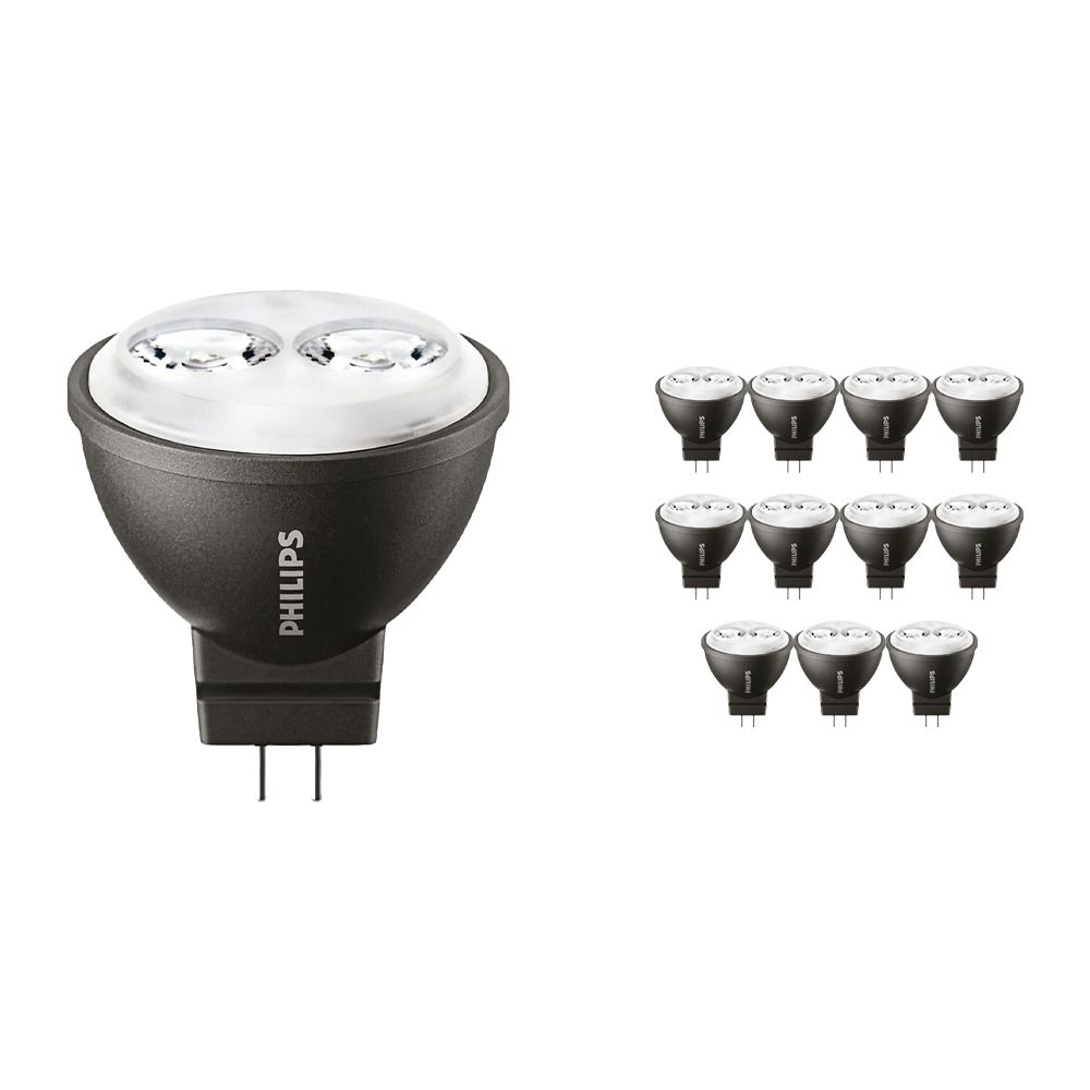 Flerpack 12x Philips LEDspot LV GU4 MR11 3.5W 827 24D (MASTER) | Extra Varm Vit - Ersättare 20W