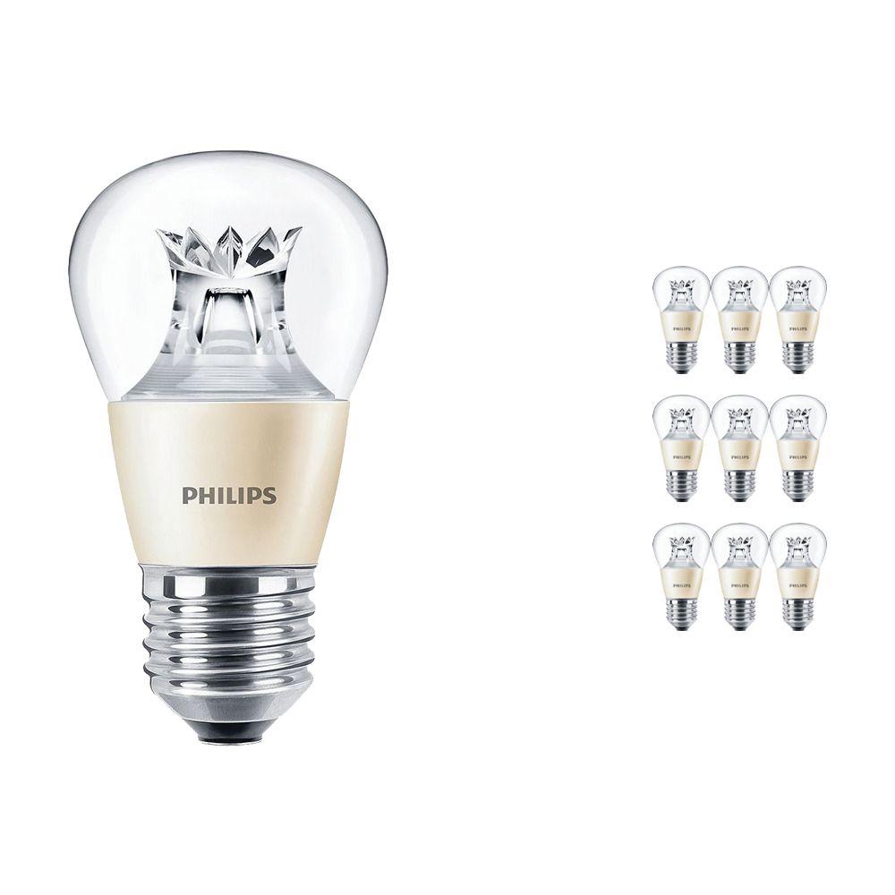 Mehrfachpackung 10x Philips LEDluster E27 P48 6W 827 Klar (MASTER) | DimTone Dimmbar - Ersatz für 40W
