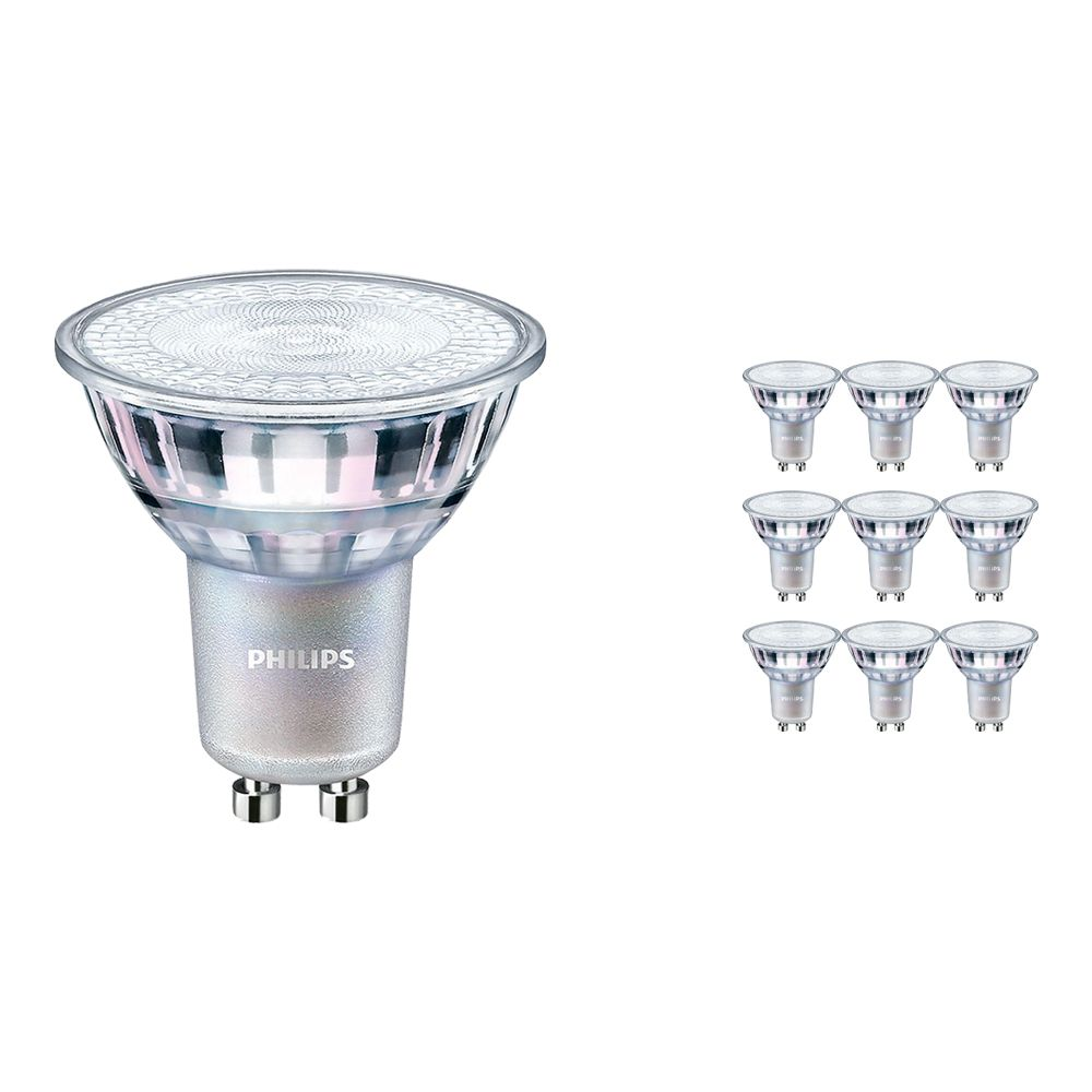 Multipack 10x Philips LEDspot MV Value GU10 4.9W 940 60D (MASTER) | Highest Colour Rendering - Dimmable - Replacer for 50W