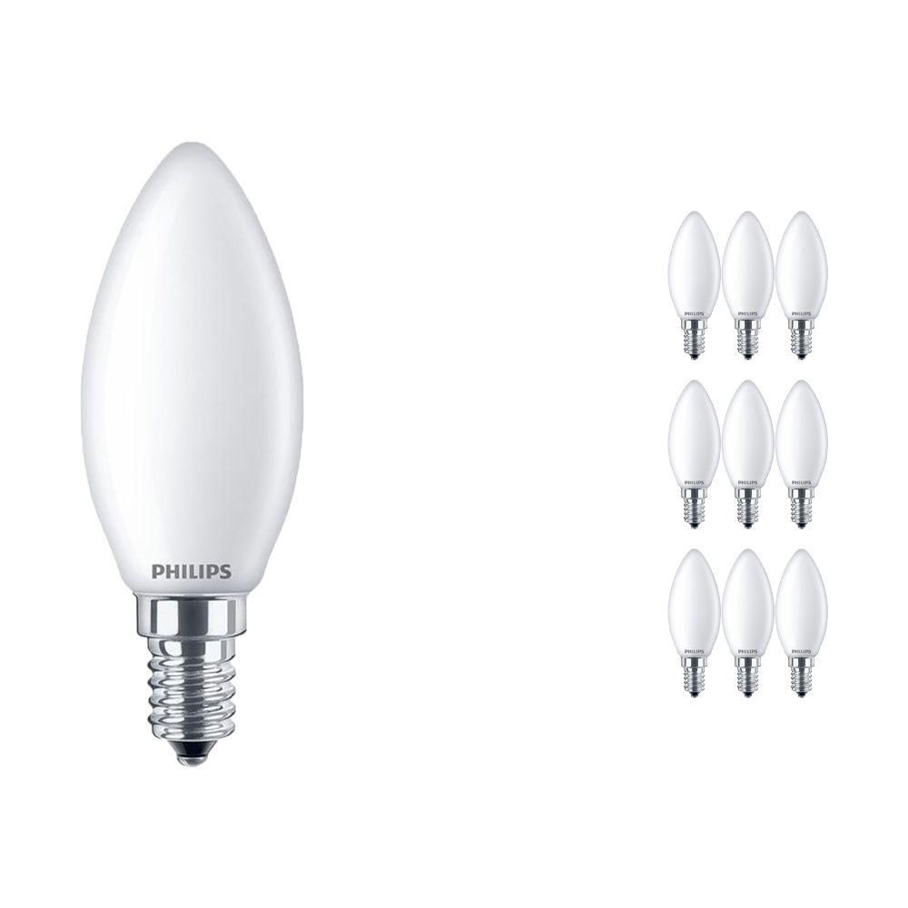 Voordeelpak 10x Philips Klassiek LEDcandle E14 B35 4.3W 827 Mat | Vervangt 40W