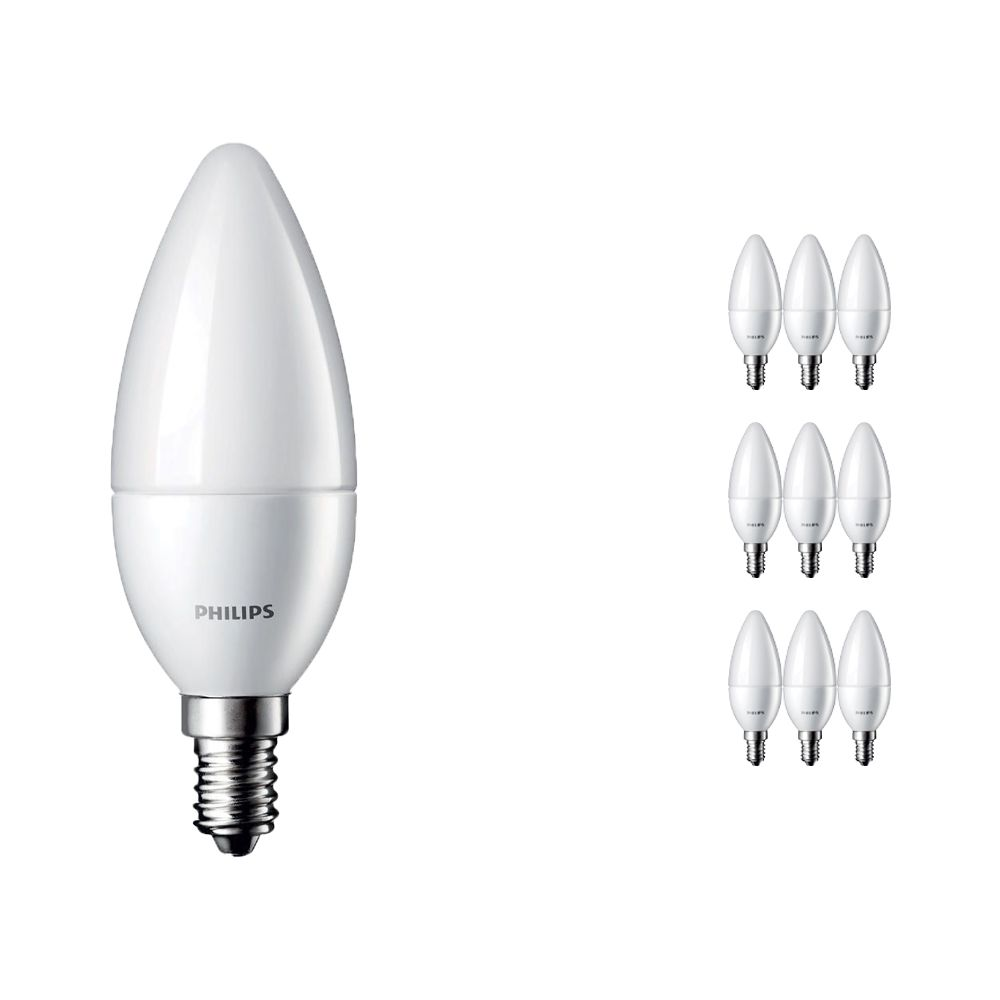 Multipack 10x Philips CorePro LEDcandle E14 B35 4W 827 Matt | Replaces 25W