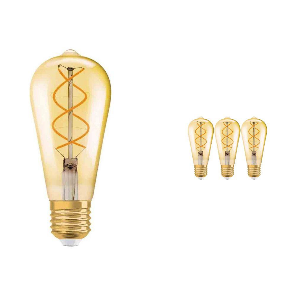 Voordeelpak 4x Osram Vintage 1906 LED E27 Edison 5W 820 Goud | Zeer Warm Wit - Vervangt 25W