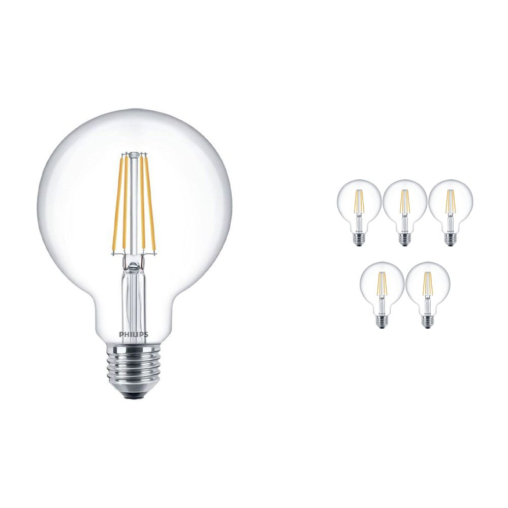 Multipack 6x Philips Classic LEDglobe E27 G93 7W 827 Clear | Replaces 60W
