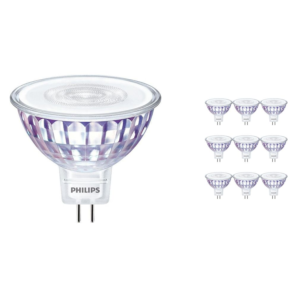 Multipack 10x Philips LEDspot VLE GU5.3 MR16 7W 840 60D (MASTER) | Cool White - Dimmable - Replaces 50W