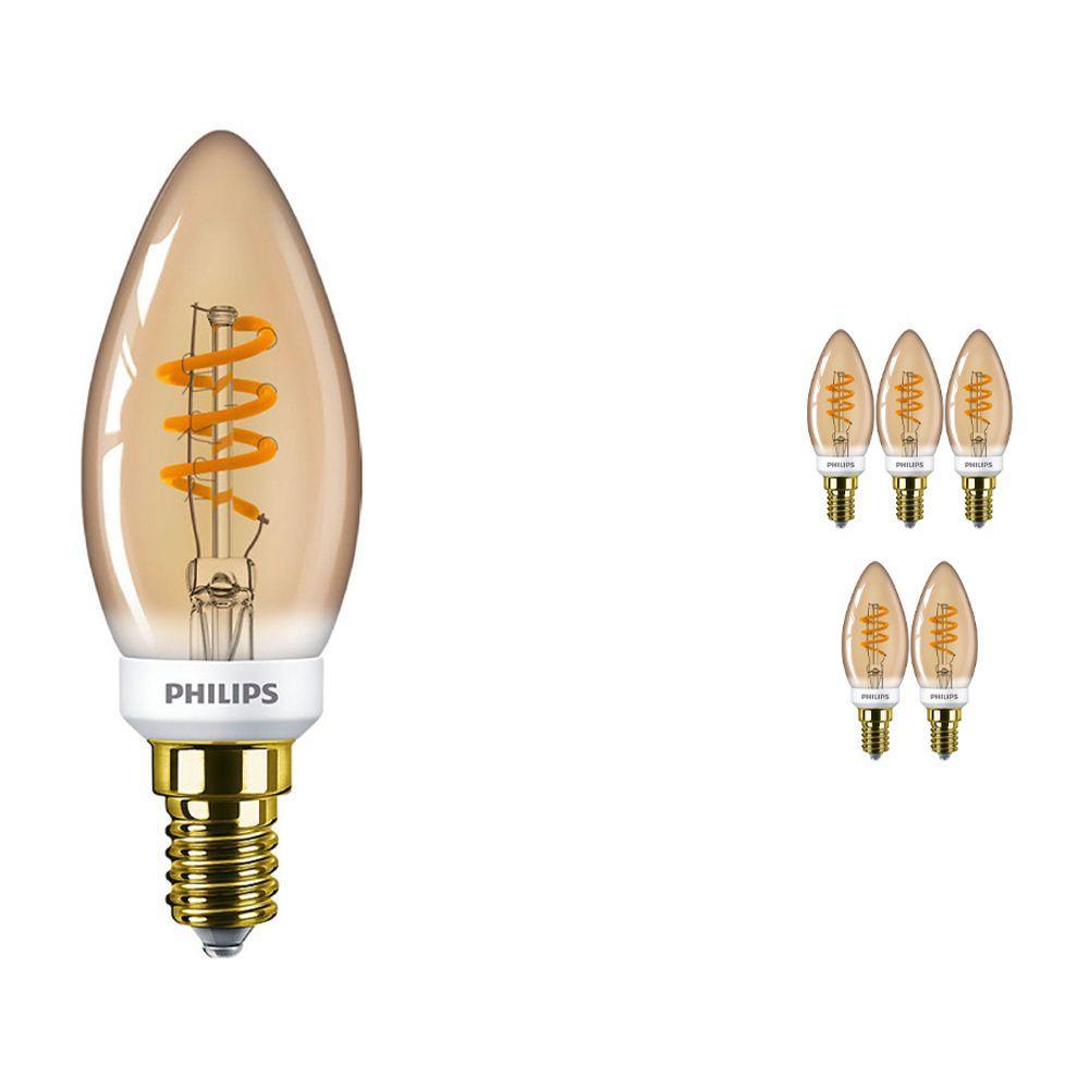 Mehrfachpackung 6x Philips klassisch LEDcandle B35 E14 3.5W 820 Gold | Dimmbar - Extra Warmweiß - Ersatz für 15W