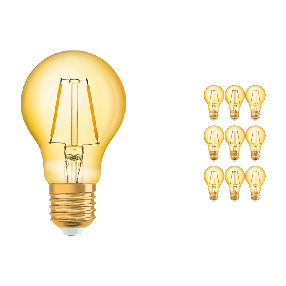 Multipack 10x Osram Vintage 1906 LED Classic E27 A 2.5W 824 Filament Gold | Extra Warm White - Replaces 22W