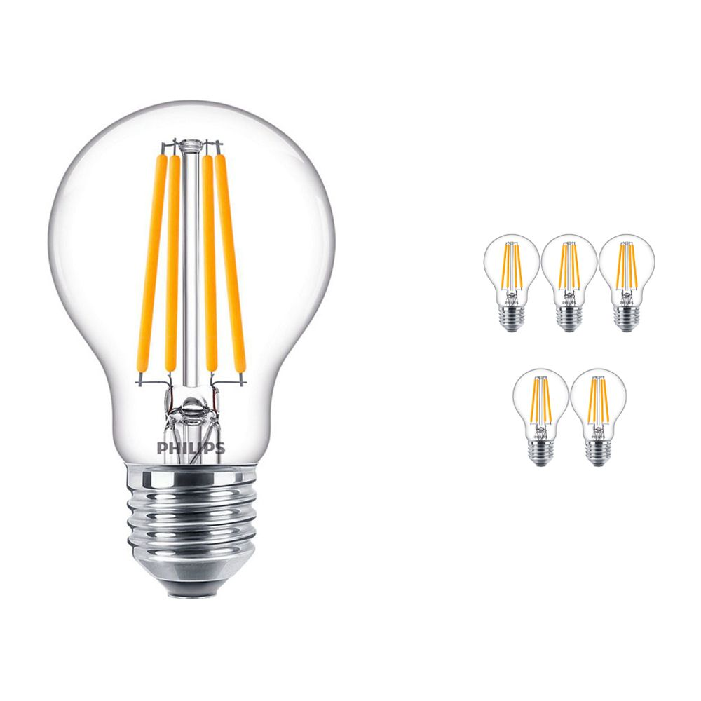 Mehrfachpackung 6x Philips klassisch LEDbulb E27 A60 10.5 827 Fadenlampe | Extra Warmweiß - Ersatz für 100W