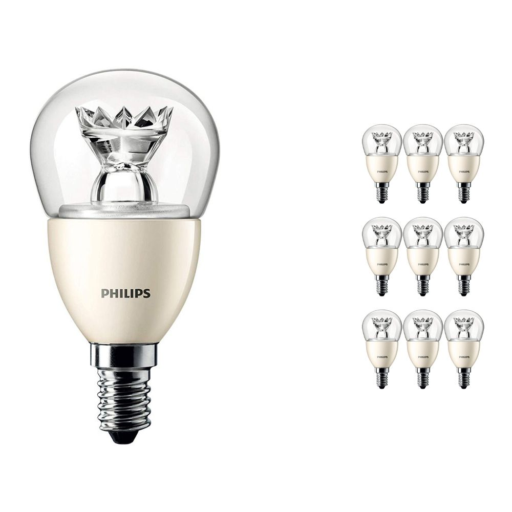 Lot 10x Philips LEDluster E14 P50 8W 827 Claire (MASTER) | DimTone Dimmable - Équivalent 60W