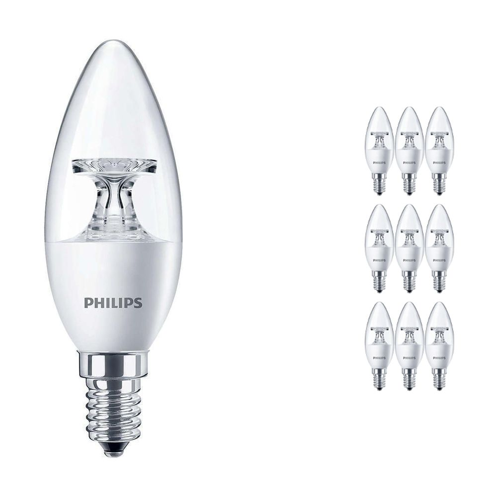 Lot 10x Philips CorePro LEDcandle E14 B35 4W 827 Claire | Équivalent 25W