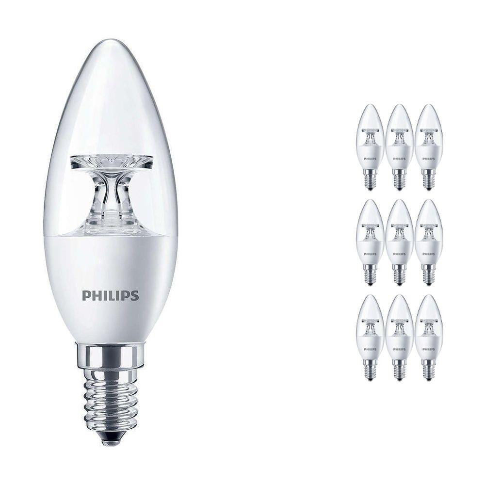 Fordelspakke 10x Philips CorePro LEDcandle E14 B35 4W 827 klar | erstatter 25W