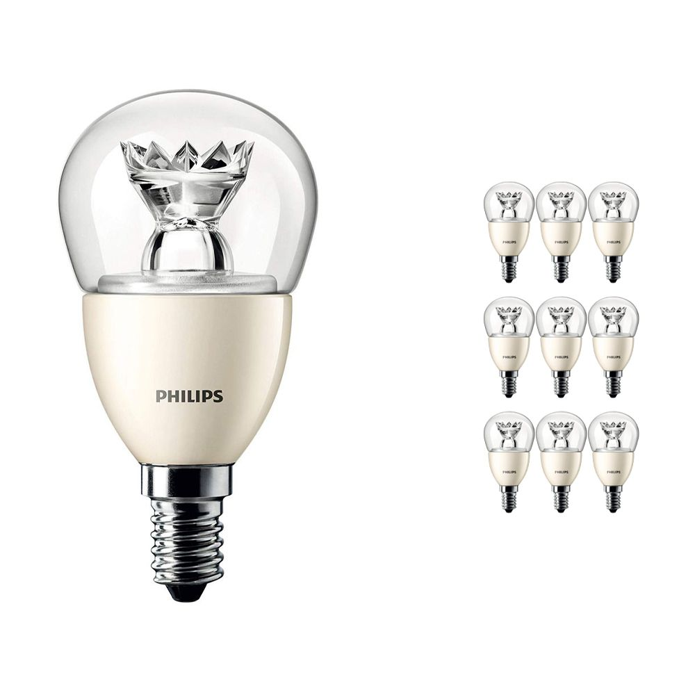Multipack 10x Philips LEDluster E14 P48 6W 827 Clear (MASTER) | DimTone Dimmable - Replaces 40W