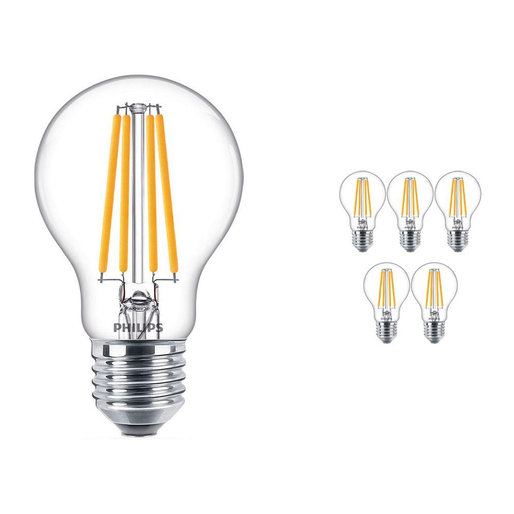 Mehrfachpackung 6x Philips klassisch LEDbulb E27 A60 10.5W 840 Fadenlampe | Ersatz für 100W