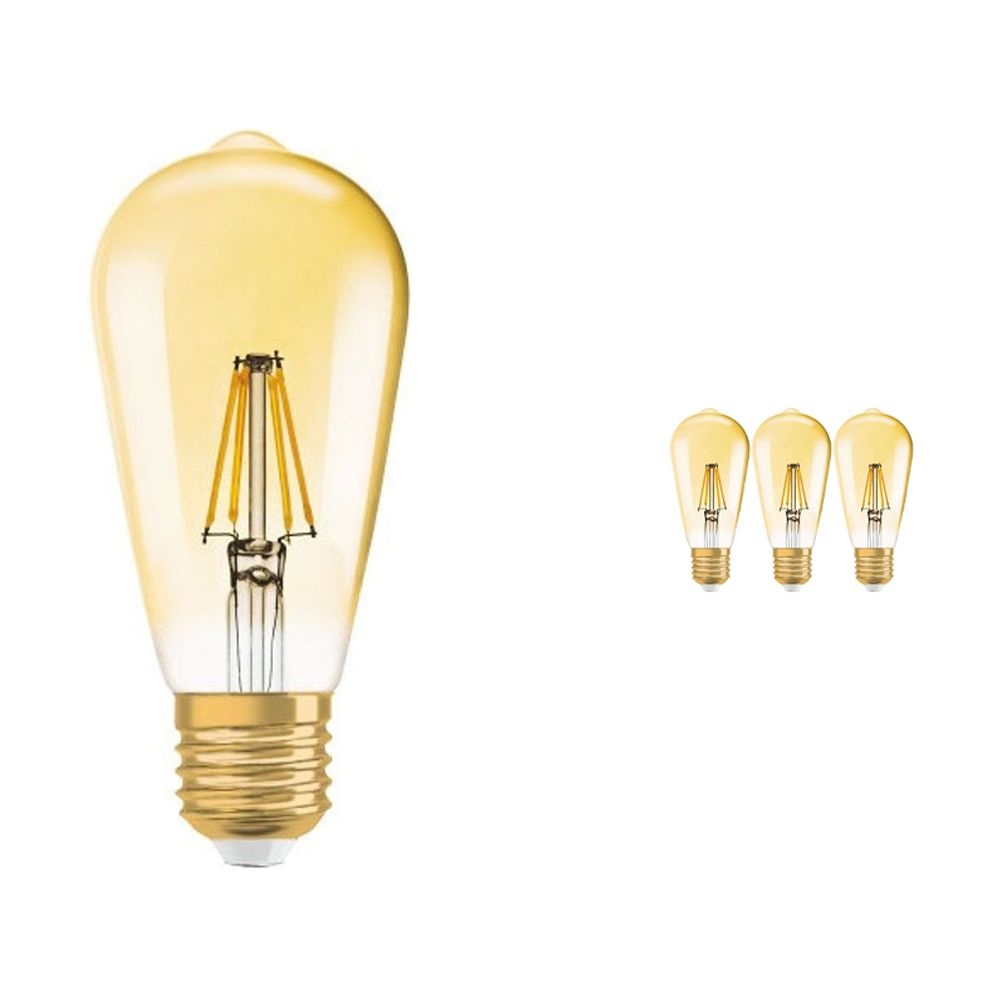 Multipack 4x Osram Vintage 1906 LED E27 Edison 7W 825 Gold | Dimmable - Replacer for 50W