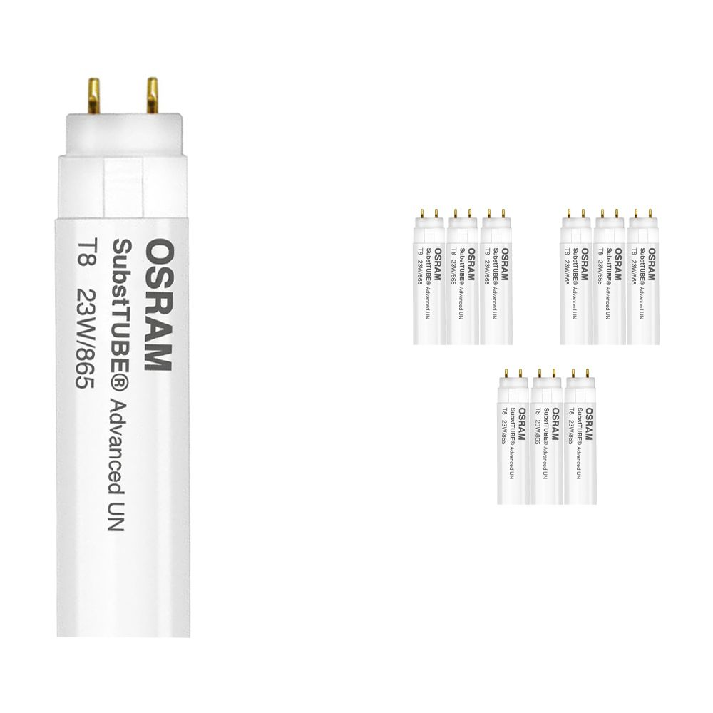 Multipack 10x Osram SubstiTUBE Advanced UO UN 23W 865 150cm | Luz de Día - Incl. LED Starter - Reemplazo 58W