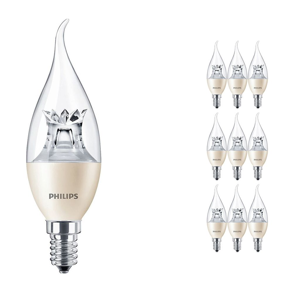 Multipack 10x Philips LEDcandle E14 BA38 6W 827 (MASTER) | DimTone Dimmable - Replaces 40W