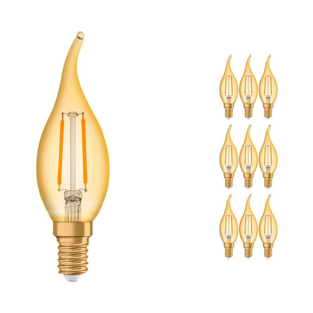 Voordeelpak 10x Osram Vintage 1906 LED Klassiek E14 BA 1.5W 824 Gloeilamp Goud | Vervanger voor 12W