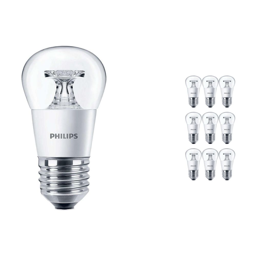 Multipack 10x Philips CorePro LEDluster E27 P45 4W 827 Clear | Replaces 25W