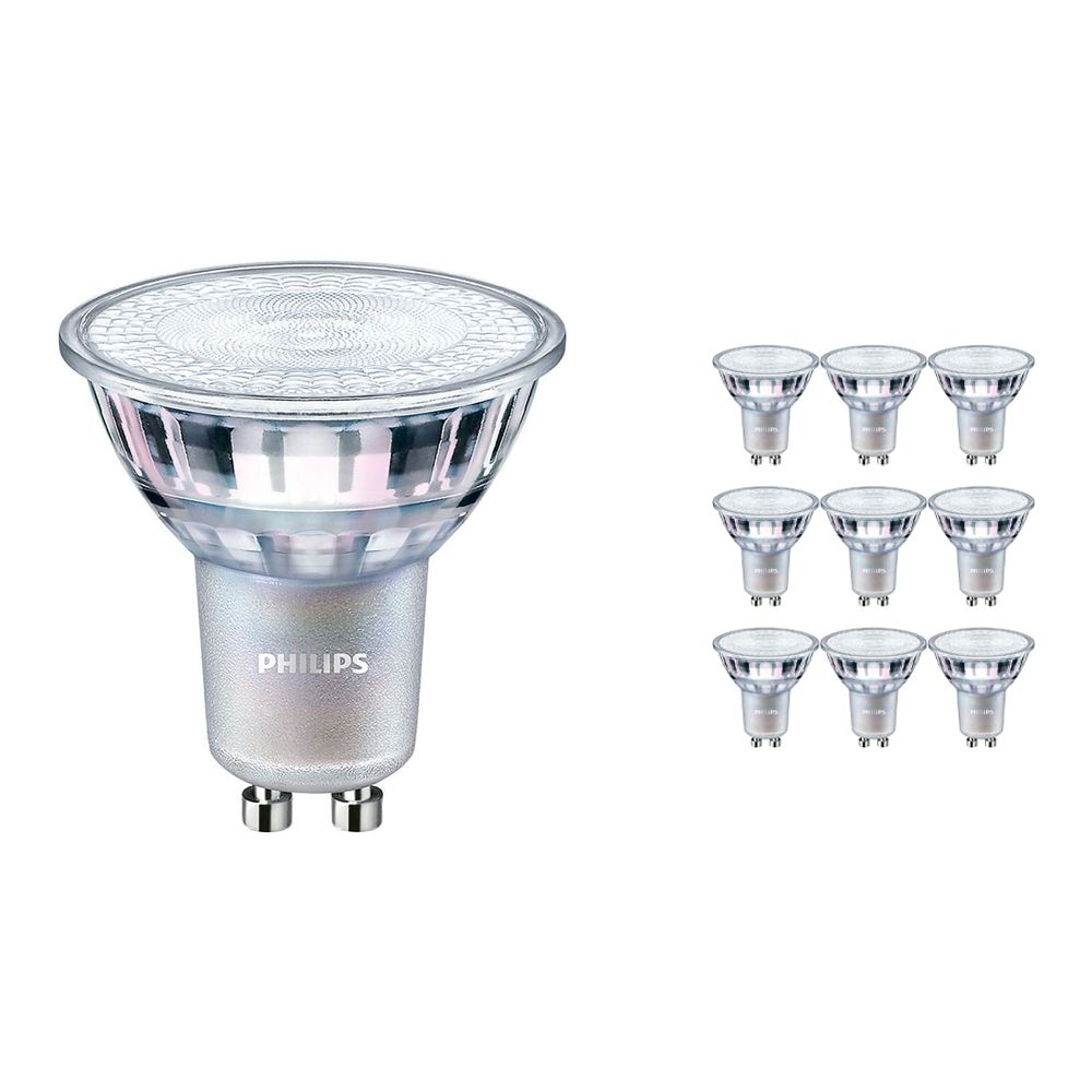 Multipack 10x Philips LEDspot MV Value GU10 3.7W 940 60D (MASTER) | Best Colour Rendering - Cool White - Dimmable - Replaces 35W