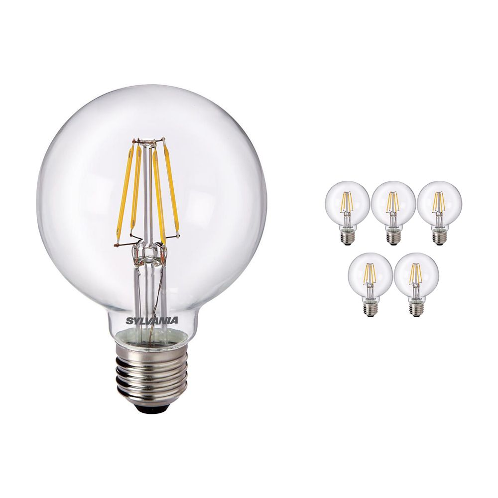 Multipack 6x Sylvania ToLEDo Retro Globe E27 G80 4W Clear | Replaces 40W