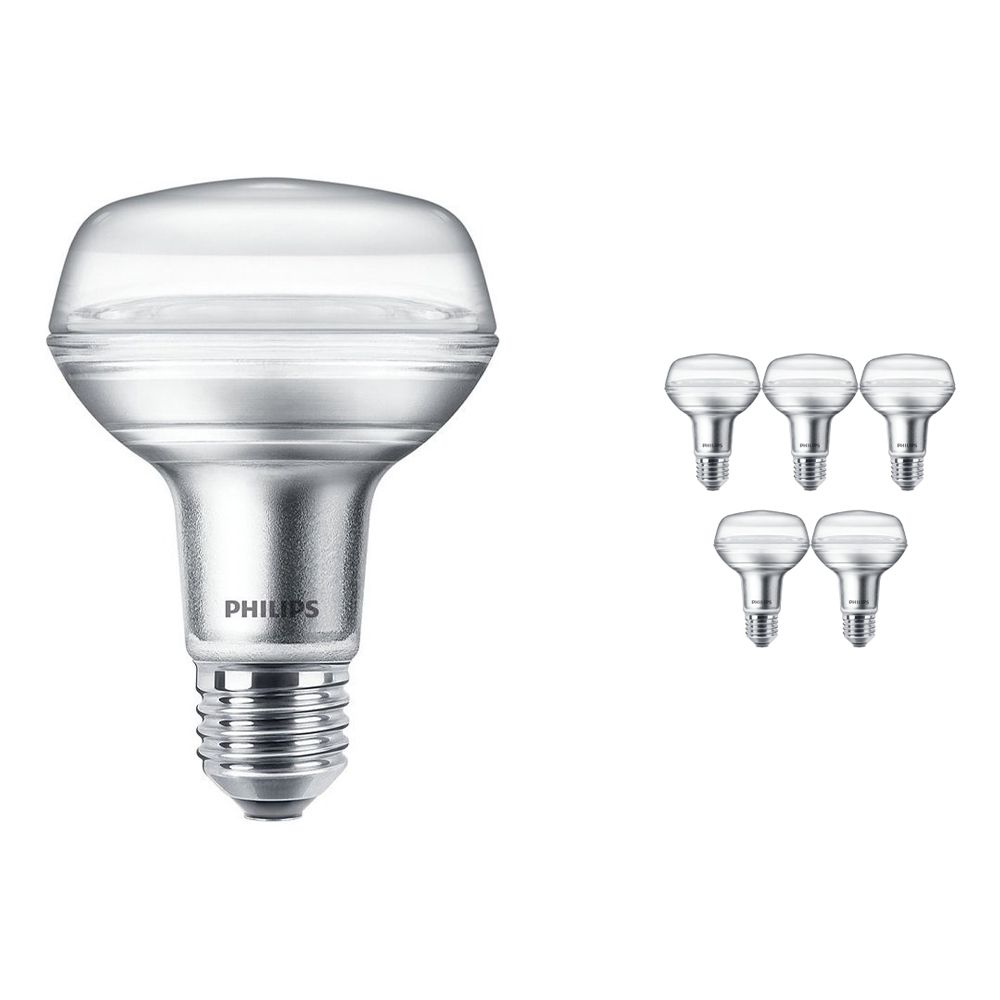 Multipack 6x Philips CorePro LEDspot E27 Reflector R80 8W 827 36D | Extra Warm White - Replaces 100W