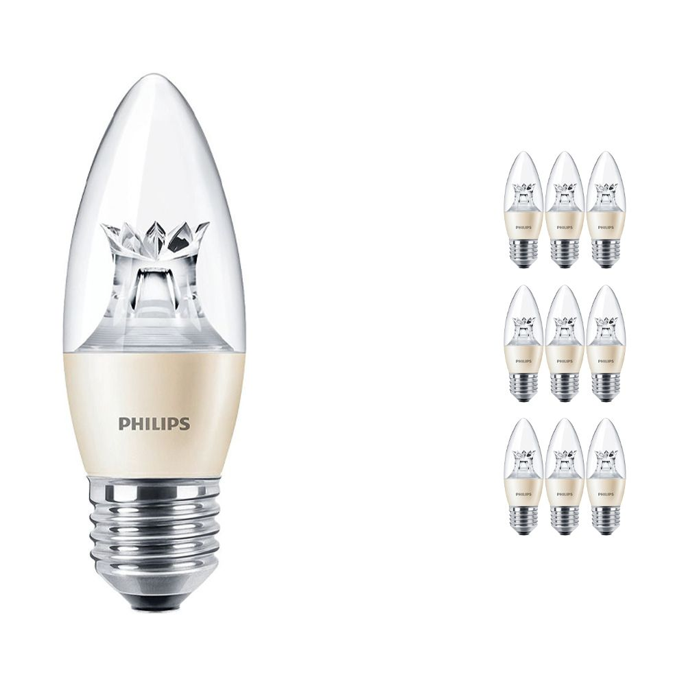 Lot 10x Philips LEDcandle E27 B38 6W 827 (MASTER) | DimTone Dimmable - Remplacement 40W