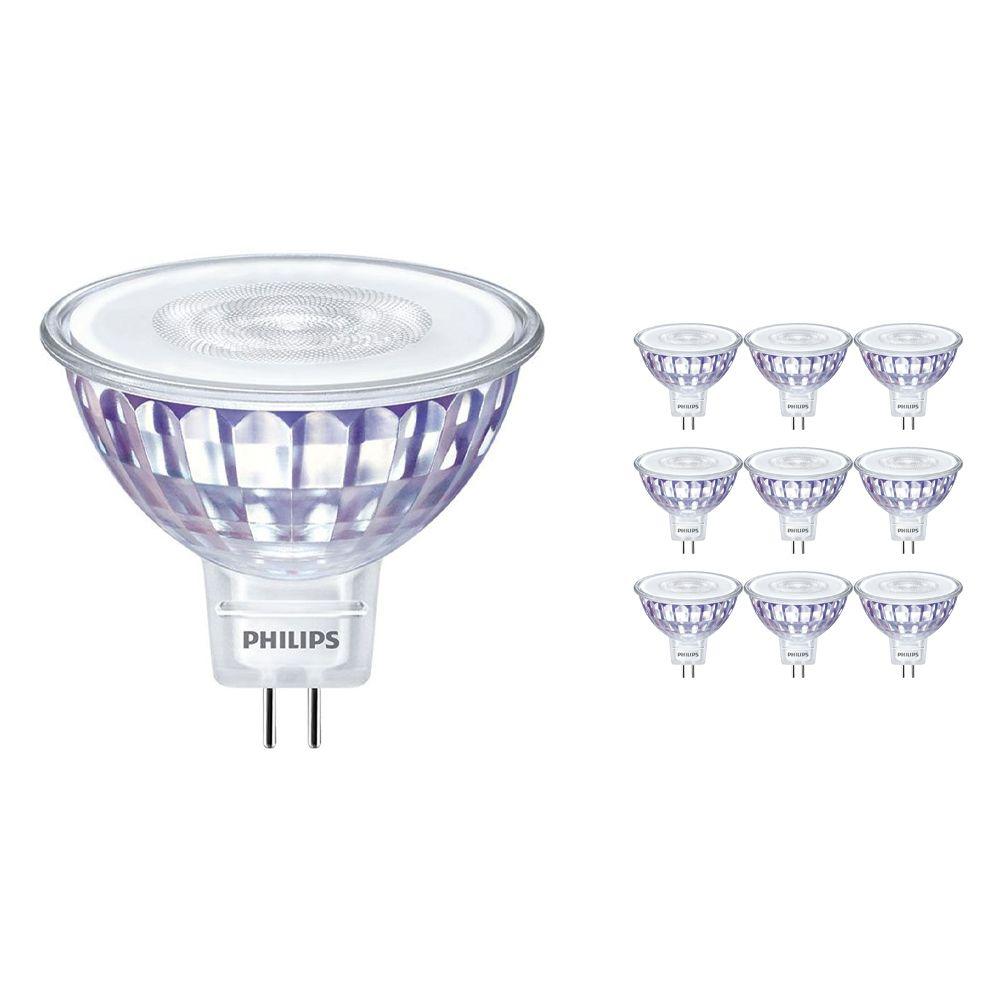 Monipakkaus 10x Philips LEDspot LV Arvo GU5.3 MR16 5.5W 840 60D (MASTER) | Kylmä Valkoinen - Himmennettävä - Korvaa 35W