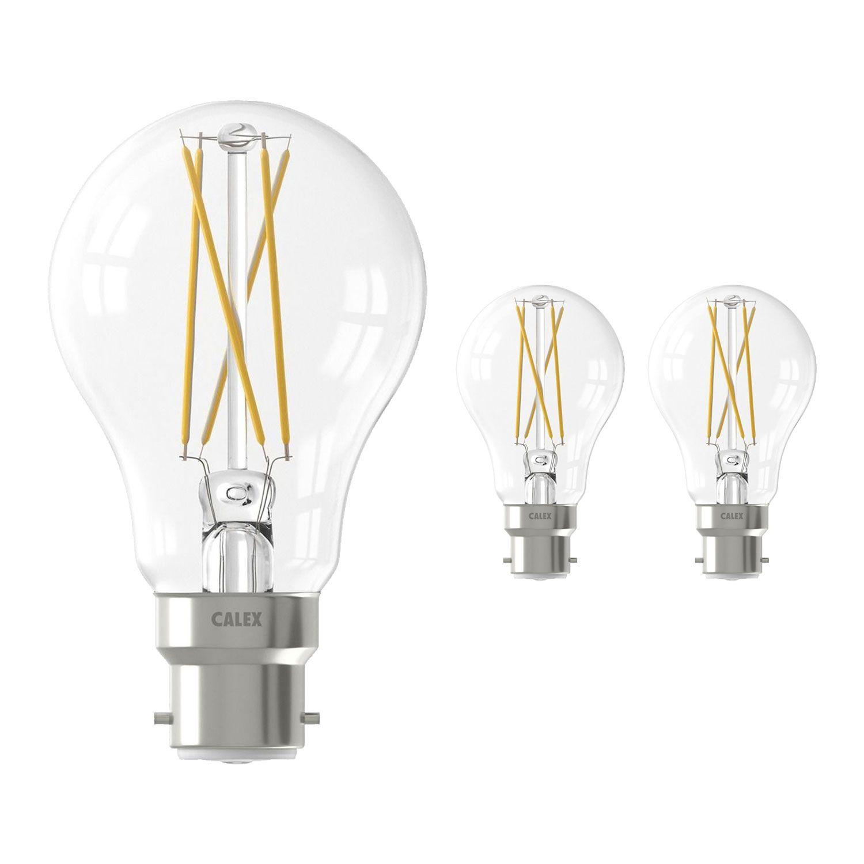 Fordelspakke 3x Calex Smart Standard LED Pære B22 7W 806lm 1800-3000K CCT filament | Tuya Wi-Fi