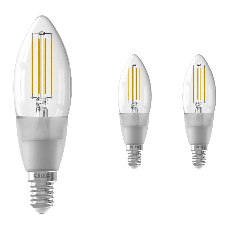 Voordeelpak 3x Calex Smart Kaars LED Lamp E14 4,5W 450lm 1800-3000K Filament   Tuya Wifi - Afstembaar Wit