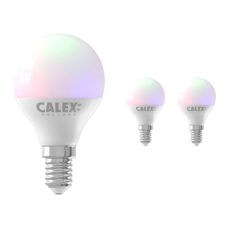 Voordeelpak 3x Calex Smart Kogelvormig LED Lamp E14 5W 470lm 2200-4000K | Tuya Wifi - Color Ambiance + Afstembaar Wit
