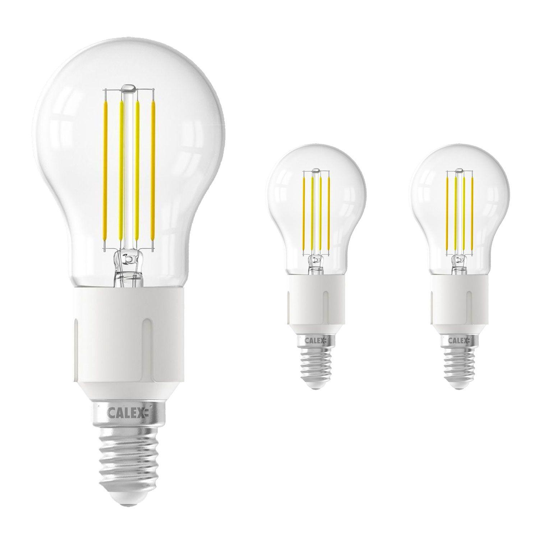 Voordeelpak 3x Calex Smart Kogelvormig LED Lamp E14 4,5W 450lm 1800-3000K Filament   Tuya Wifi - Afstembaar Wit