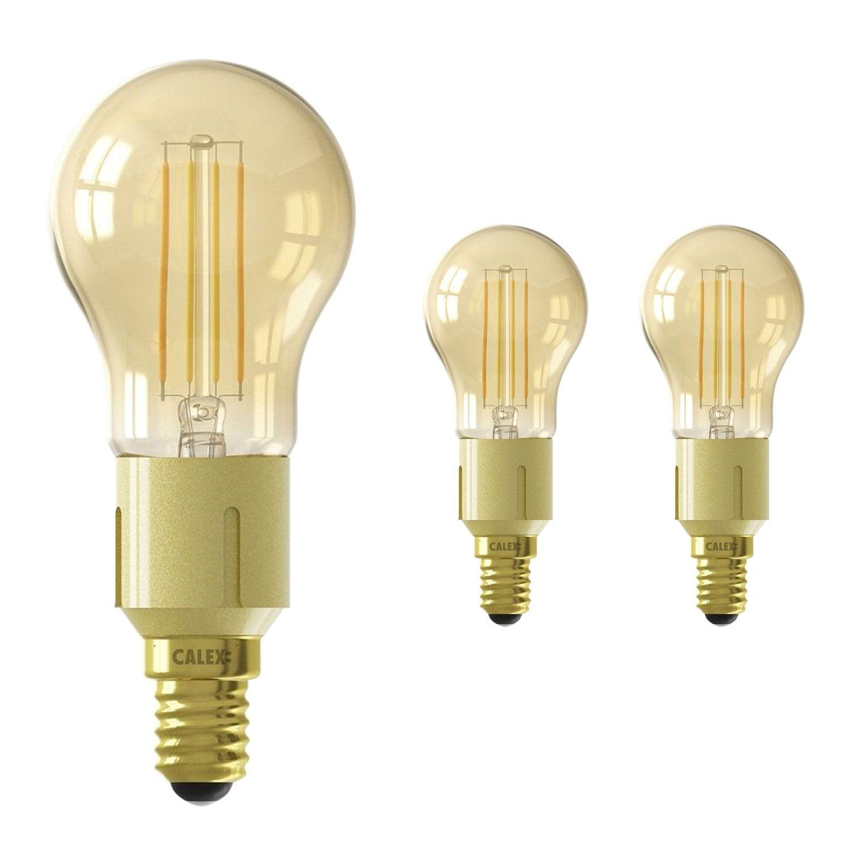 Fordelspakke 3x Calex Smart Sfærisk LED Pære E14 4,5W 400lm 1800-3000K CCT filament | Tuya Wi-Fi