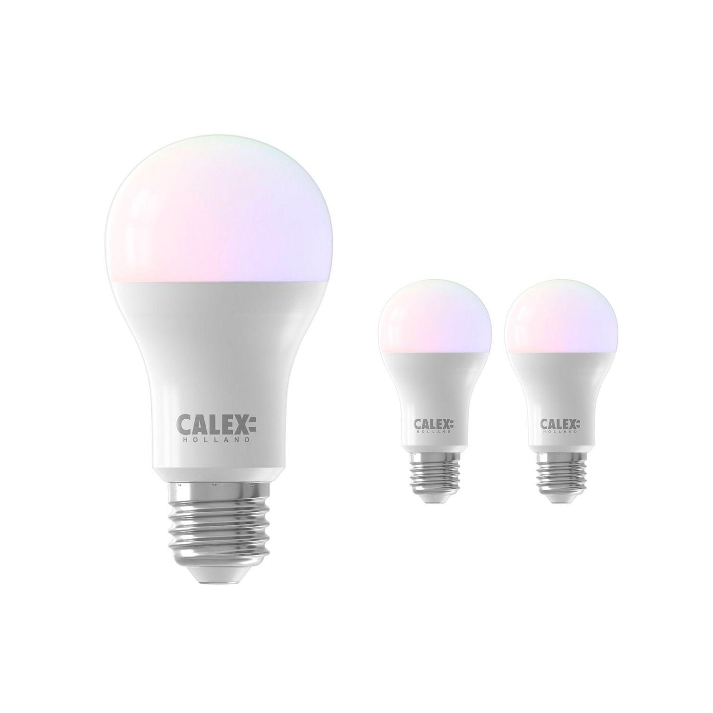 Fordelspakke 3x Calex Smart Standard LED Pære E27 8,5W 806lm 2200-4000K RGB + CCT | Tuya Wi-Fi