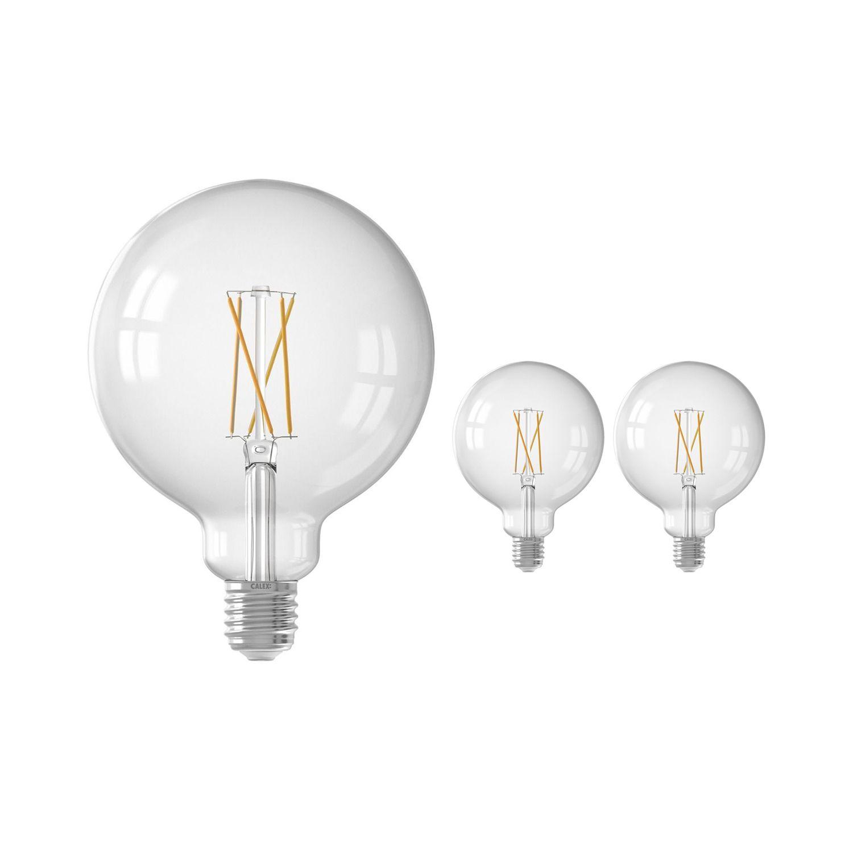 Voordeelpak 3x Calex Smart Globe G125 E27 7,5W 1055lm 1800-3000K Filament | Tuya Wifi - Afstembaar Wit