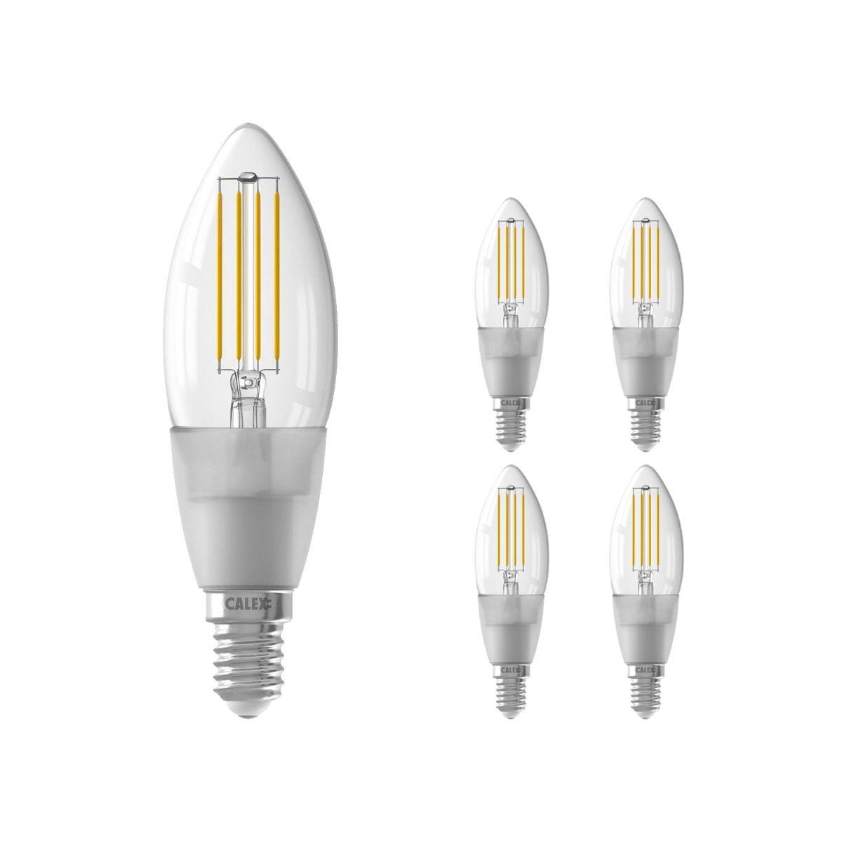 Voordeelpak 5x Calex Smart Kaars LED Lamp E14 4,5W 450lm 1800-3000K Filament   Tuya Wifi - Afstembaar Wit