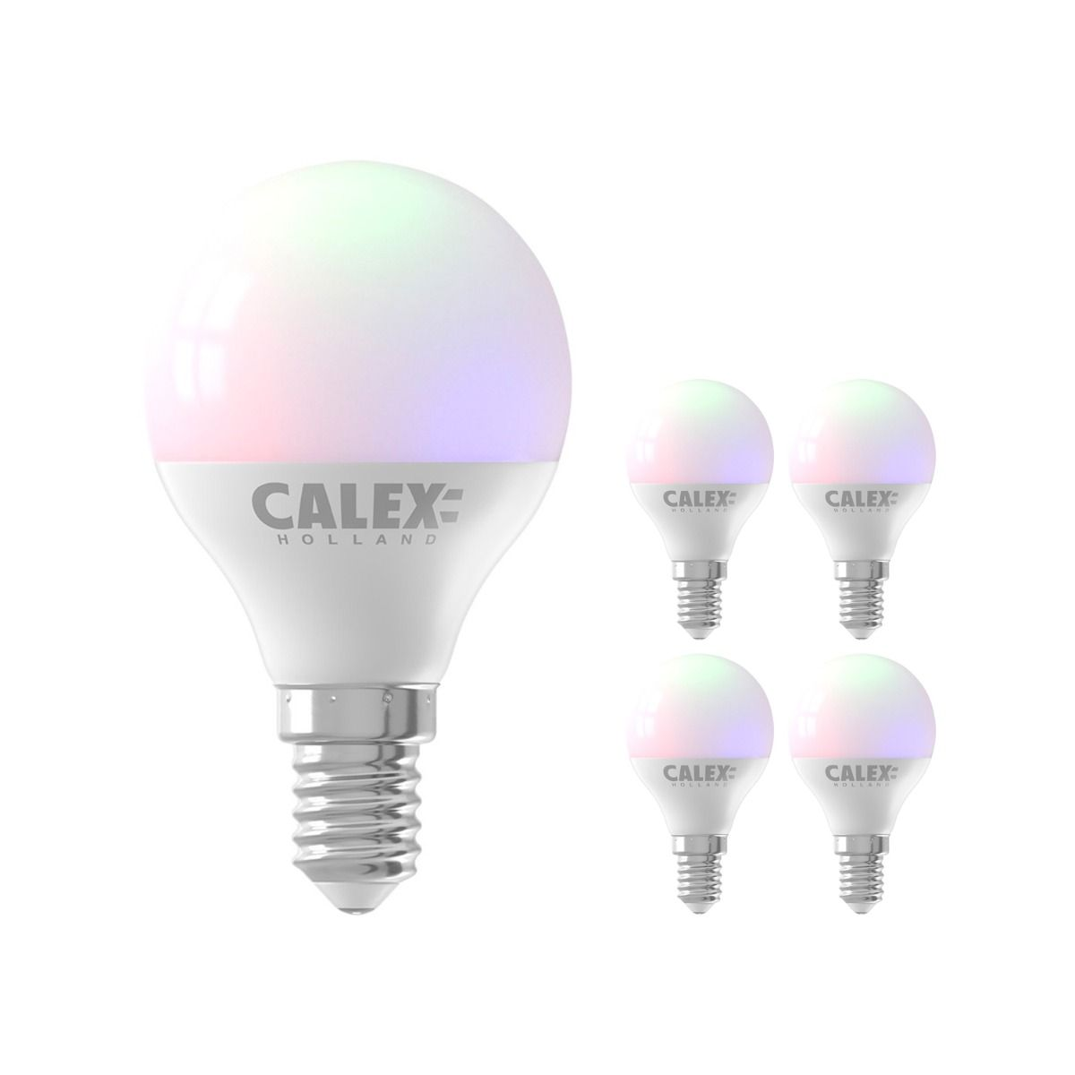 Voordeelpak 5x Calex Smart Kogelvormig LED Lamp E14 5W 470lm 2200-4000K | Tuya Wifi - Color Ambiance + Afstembaar Wit