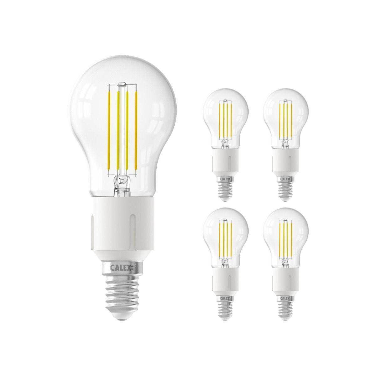Voordeelpak 5x Calex Smart Kogelvormig LED Lamp E14 4,5W 450lm 1800-3000K Filament   Tuya Wifi - Afstembaar Wit