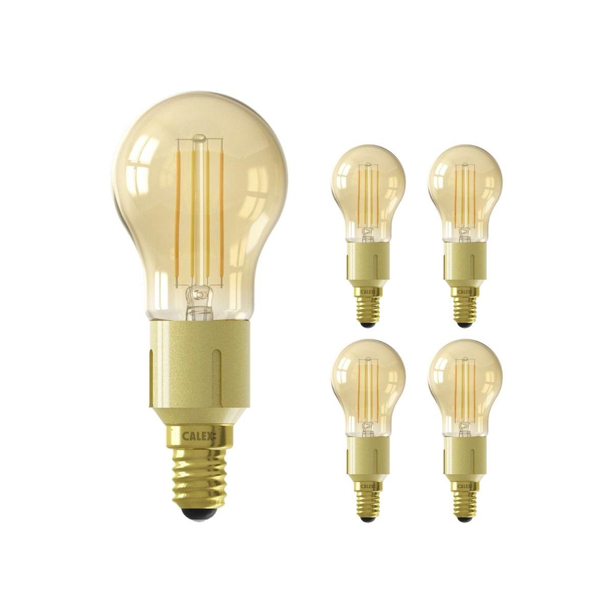 Fordelspakke 5x Calex Smart Sfærisk LED Pære E14 4,5W 400lm 1800-3000K CCT filament | Tuya Wi-Fi