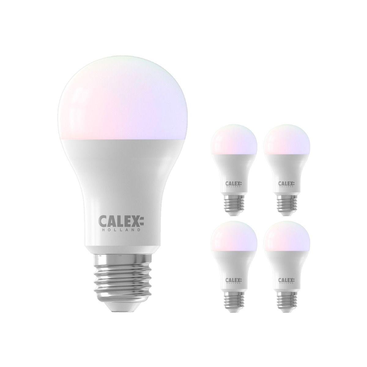 Fordelspakke 5x Calex Smart Standard LED Pære E27 8,5W 806lm 2200-4000K RGB + CCT | Tuya Wi-Fi