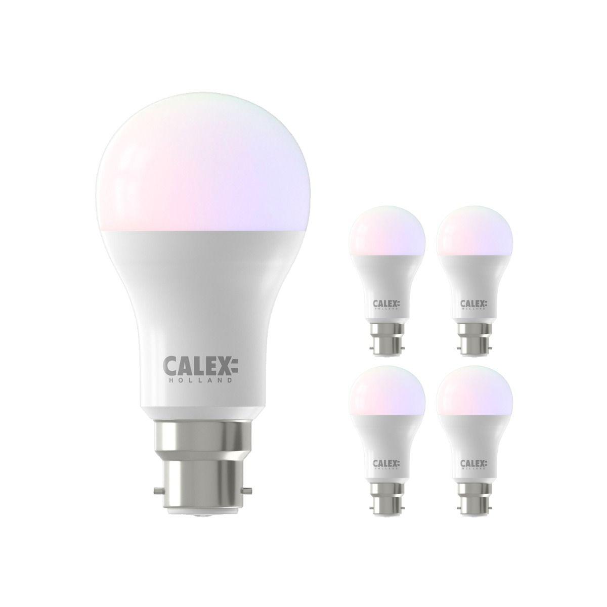 Multipack 5x Calex Smart Standard LED Bulb B22 8,5W 806lm 2200-4000K | Tuya Wifi