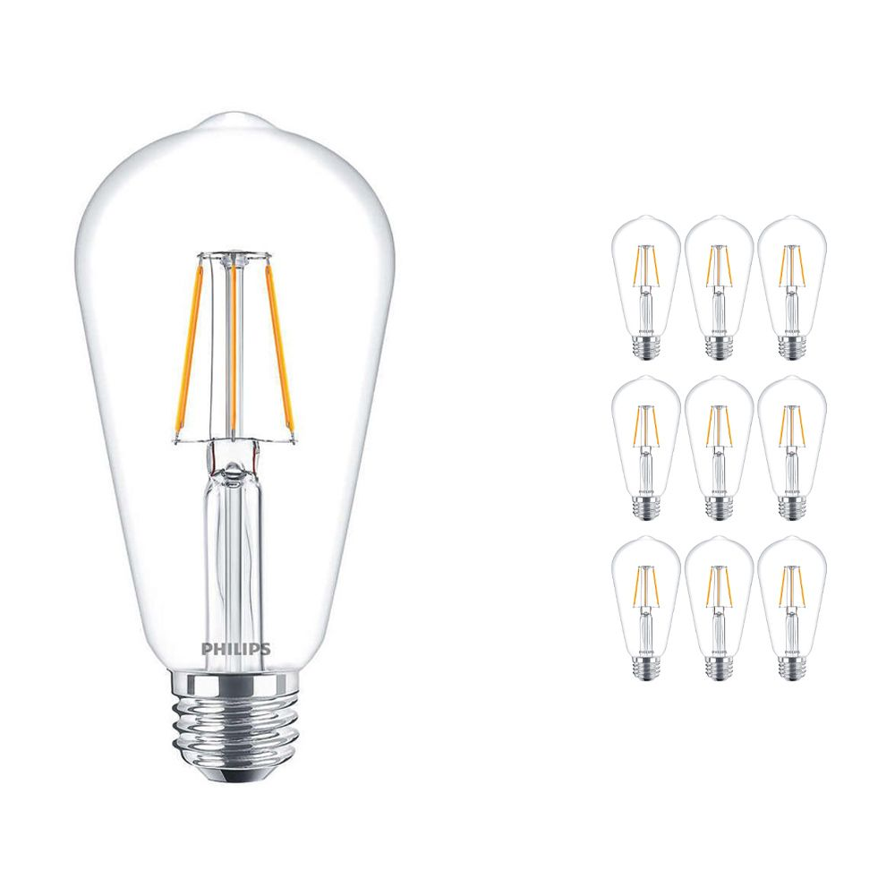 Multipack 10x Philips Classic LEDbulb E27 Edison 4W 827 Clear | Replaces 40W
