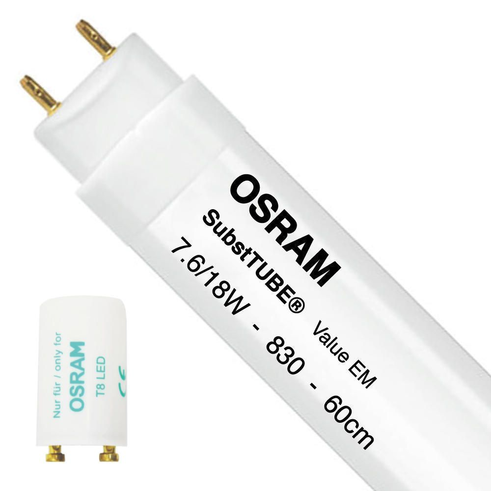 Osram SubstiTUBE Value EM 7.6W 830 60cm | Warm White - incl. LED Starter - Replaces 18W