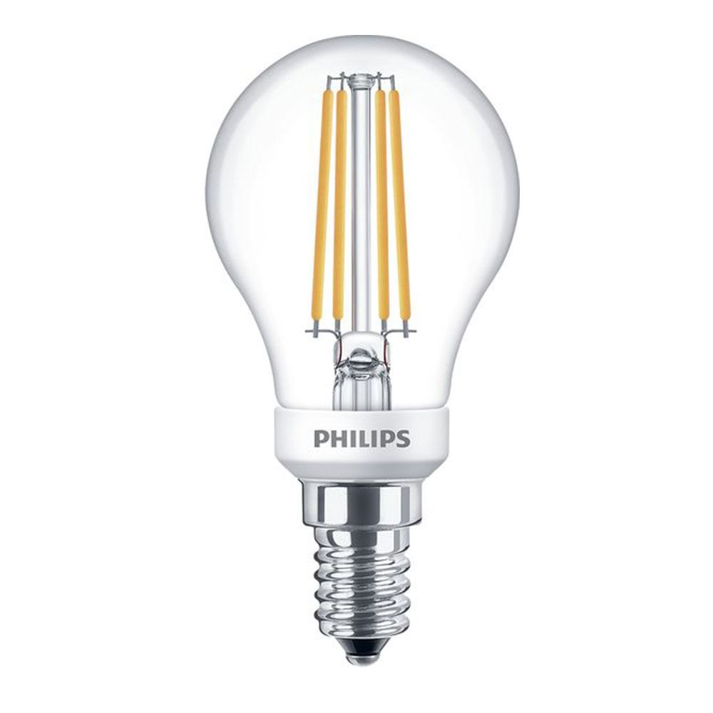 Philips Classic LEDlustre E14 P45 5W 827 Clear | Dimmable - Replaces 40W