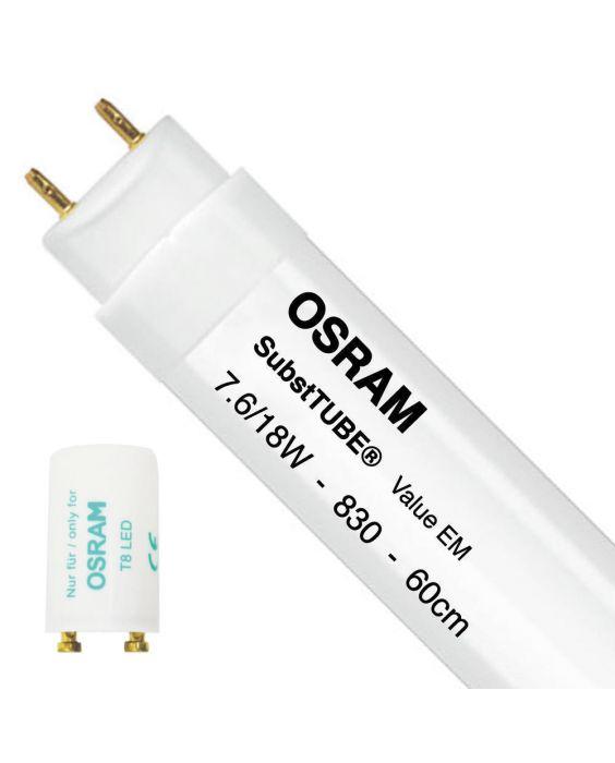 Osram SubstiTUBE Value EM 7.6W 830 60cm   Warm Wit - incl. LED Starter - Vervangt 18W