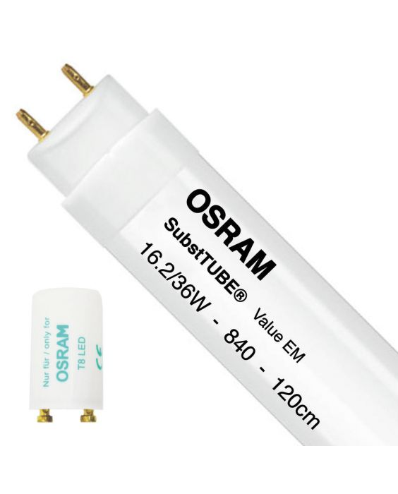 Osram SubstiTUBE Value EM 16.2 840 120cm   Koel Wit - incl. LED Starter - Vervangt 36W